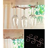 Awerise Vintage Style 6 glass under cabinet wine glass rack, hanging wine glass rack, stemware rack
