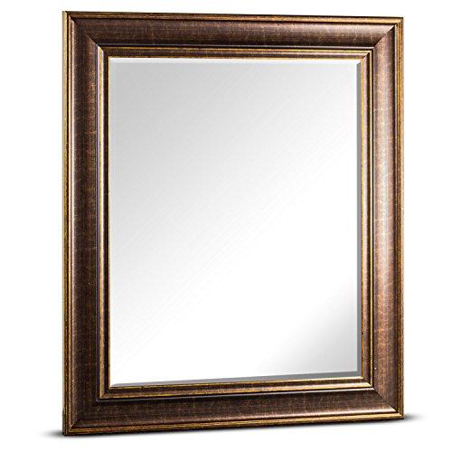Millennium Art Bentley Medium Rectangle Framed Beveled Wall Bathroom Vanity Mirror - Brown (25