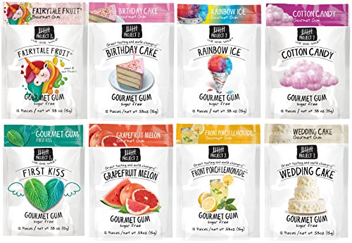 Project 7 Gourmet Gum Variety Pack - Birthday Cake, Wedding Cake, Rainbow Ice, First Kiss, Grapefruit Melon, Fairytale Fruit, Cotton Candy, Front Porch Lemonade.53 Ounce, Pack of - Birthday Project Cake 7