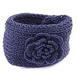 HDE Women's Fashion Winter Flower Button Ear Warmer Crochet Headband Hairband Wrap (Dark Gray)
