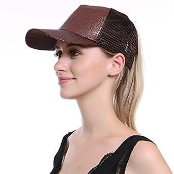 df7cf4fd2 JAKY Global Glitter Ponytail Cap Messy Bun Adjustable Mesh Trucker Baseball  Cap Hats Women Girls(Coffee): Amazon.co.uk: Clothing