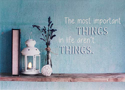 Oak Street Lighted Canvas The Most Important Things in Life aren't Things, LED Art Print for Tabletop 8 x 6 inches with Flickering Candle in Lantern, Auto Timer 6 Hours on 18 Hours off