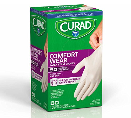 Curad CUR4025R Powder-Free Latex Exam Gloves, 50 count Boxes (Pack of 24)