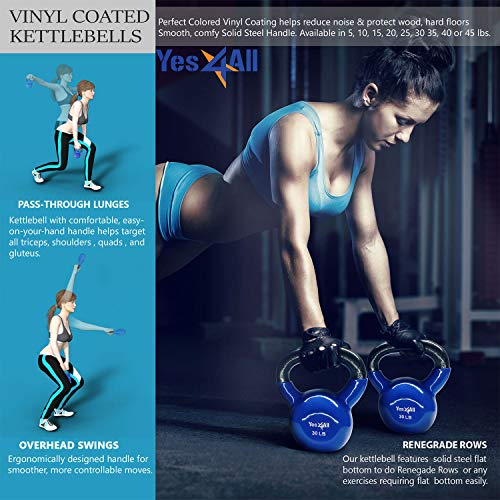 Yes4All Combo Vinyl Coated Kettlebell Weight Sets – Great for Full Body Workout and Strength Training – Vinyl Kettlebells 5 10 15 20 25 30 lbs by Yes4All (Image #5)