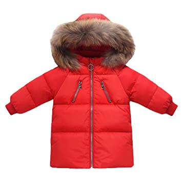 2d78ac47e8a Image Unavailable. Image not available for. Color: Jiamy Kids Down Jacket  Winter Hooded Coat Long Puffer Jacket Warm Outfits Red ...