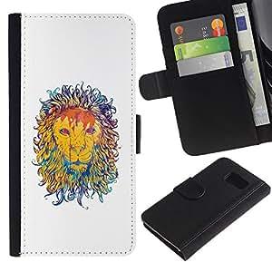 Planetar® Modelo colorido cuero carpeta tirón caso cubierta piel Holster Funda protección Para Samsung Galaxy S6 / SM-G920 ( Majestic Lion Painting )