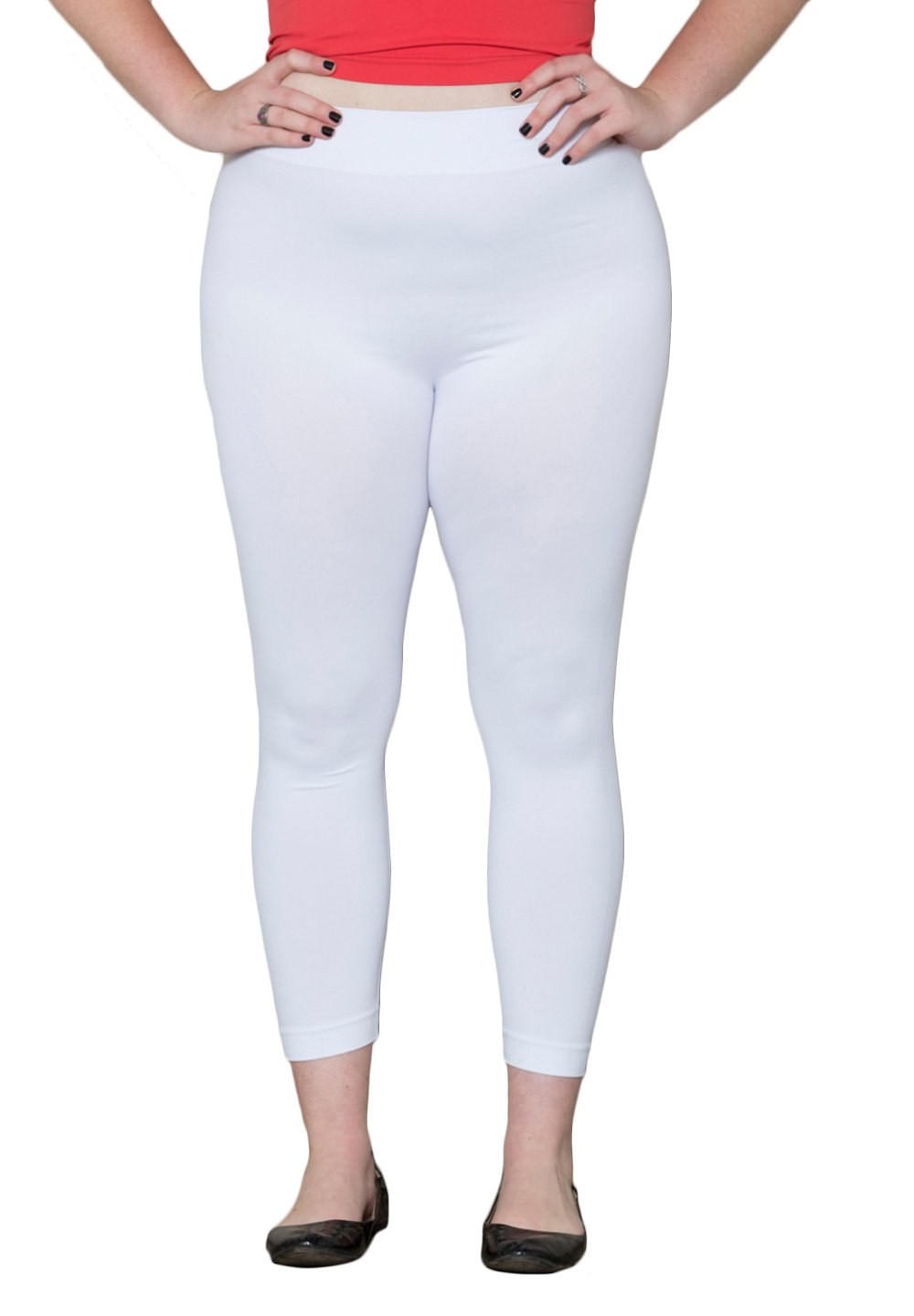 SWAK Designs Womens Plus Size At waist Wide Casual Seamless Leggings