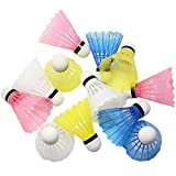 Hysagtek 12 Pcs Plastic Badminton ShuttleCocks Nylon Shuttles Indoor Outdoor Sport Training Badminton Birdies Balls, Random Color