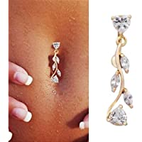 Sumanee Sparkling Reverse Belly Ring Dangle Clear Navel Bar Gold Body Jewelry Piercing