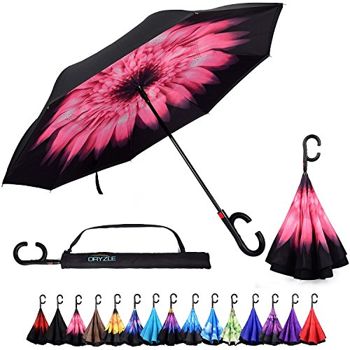 C Shape Handle - Reverse/Inverted Double-Layer Straight Umbrella, Self-Standing & C-Shape Handle & Carrying Bag for Free Hands, Anti-UV Waterproof Windproof Straight Umbrella for Car Rain Outdoor Use - Pink Daisy