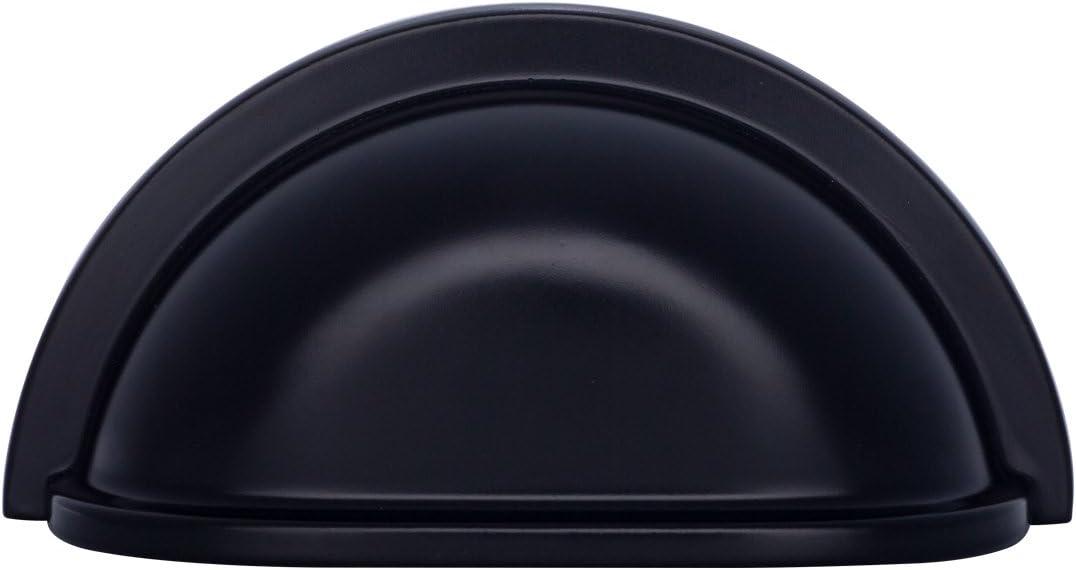 Matt-Schwarz L/änge: 9,37 cm Muschelgriff f/ür Schubladen klassisch Basics 10er-Pack Lochmitte zu Lochmitte: 7,62 cm