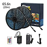 Tingkam 65.6ft 20 M Waterproof 5050 SMD RGB LED Flexible Strip Light Black PCB Board Color Changing Decoration Lighting 150 LEDs Kit + 20 Key Remote Controller+ 6 A US Power Adapter