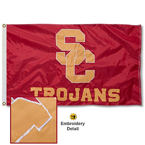 Usc Tailgate Flag Trojans (USC Trojans Embroidered and Stitched Nylon Flag)