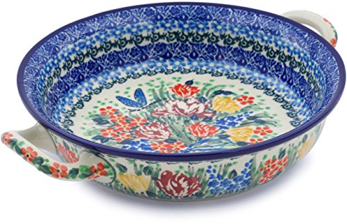 - Polish Pottery Medium Round Baker with Handles made by Ceramika Artystyczna (Dragonfly Bouquet Theme) Signature UNIKAT + Certificate of Authenticity