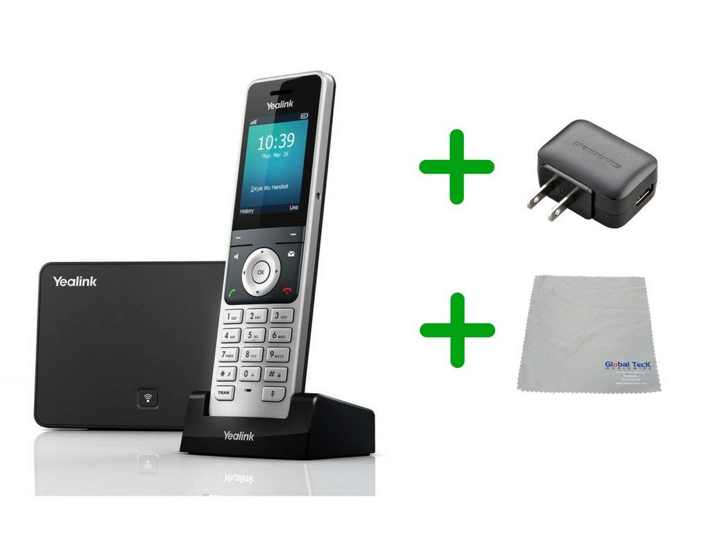 Global Teck Bundle of Yealink W60P IP Cordless Phones Office Bundle-DECT Handset and Base Unit, Power Supply and Microfiber Cloth | Requires VoIP Service (Yealink W60P Base and 1 handset) by Global Teck Worldwide