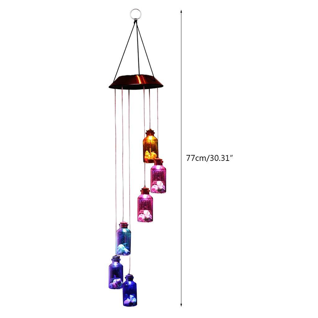 huyiko Ext/érieur Solaire LED Carillon De Vent Lumi/ère Bouteilles Chanceux Lustre Changeant De Couleur Lustre Maison Jardin D/écoration Lampe