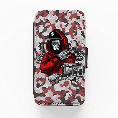MC Gorilla Camo Hochwertige PU-Lederimitat Hülle, Schutzhülle Hardcover Flip Case für iPhone 4 / 4s vom DevilleArt + wird mit KOSTENLOSER klarer Displayschutzfolie geliefert
