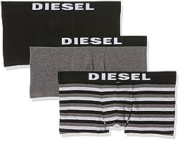 Diesel Men\'s 3-Pack Shawn Yarn Dye Cotton Stretch Trunk, Grey Stripe/Grey/Black, Medium