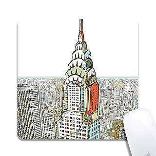 Computer City Square Mouse Pad (7.8x7.8 Inch), Printed Rubber Desk Accessories Mouse Mat