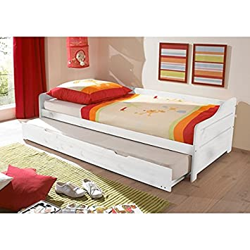 Funktionsbett 90*200 cm Kiefer massiv weiß Gästebett Gästeliege ... | {Funktionsbett kinderzimmer 45}