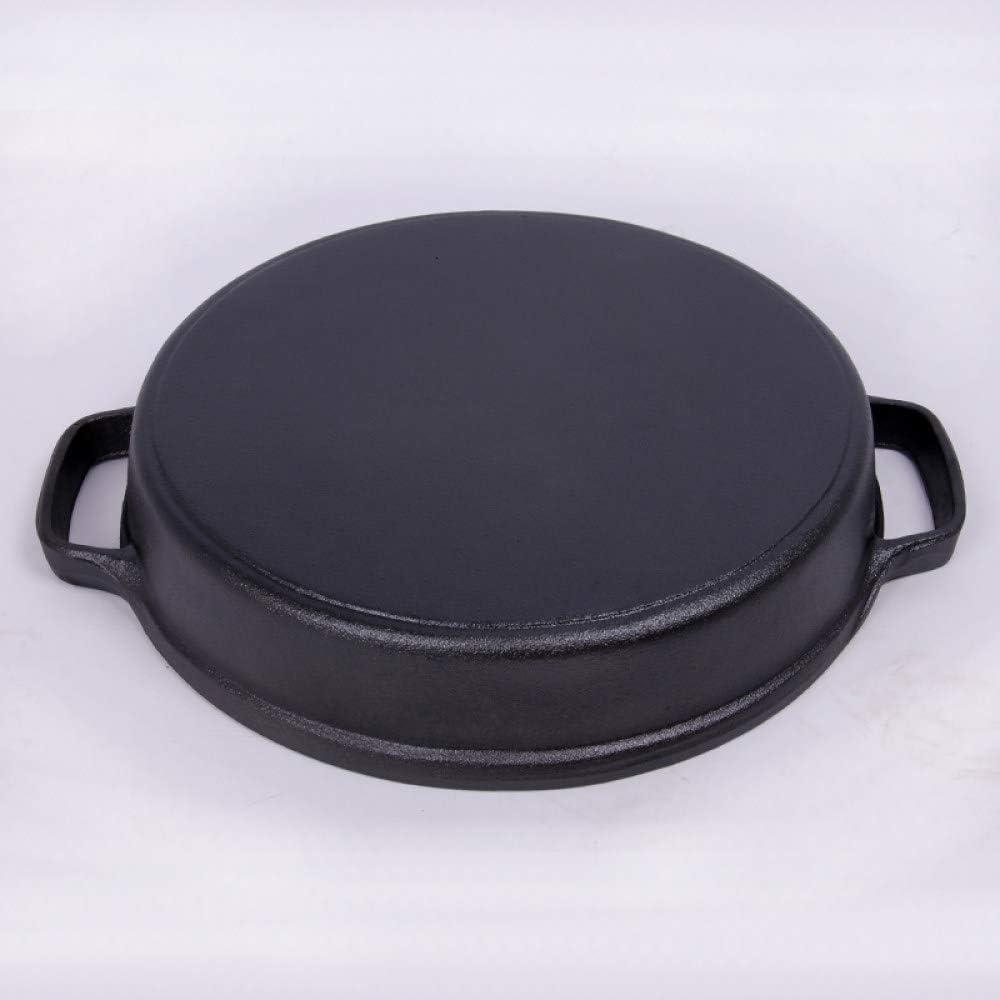 HIUGHJ Poêle à Double poignée en Fonte épaissie avec Omelette Poêle à grillades à crêpes antiadhésive Poêle à rôtir pour Barbecue, 22CM avec Couvercle 25cm avec Couvercle