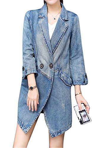 Fensajomon Women's Slim Midi Casual Business Lapel Denim Trench Coat Jacket Denim Blue L by Fensajomon