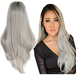 """Anogol Wavy Synthetic Lace Front Wig, 18"""" (Ombre Grey / Grey Silver)"""