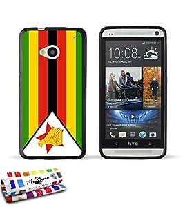 Carcasa Flexible Ultra-Slim HTC ONE de exclusivo motivo [Zimbabue Bandera] [Negra] de MUZZANO  + ESTILETE y PAÑO MUZZANO REGALADOS - La Protección Antigolpes ULTIMA, ELEGANTE Y DURADERA para su HTC ONE