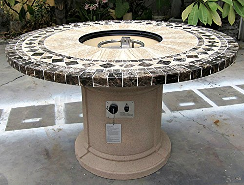 Gas Fireplace Fire Pit Outdoor, Marble Mosaic Inlay 48