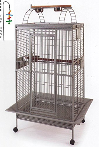 New Large Double Ladders Open Play Top Wrought Iron Bird Parrot Parttot Finch Macaw Cockatoo Cage, Include Seed Guard and Toy Hook, *Black Hammertone*