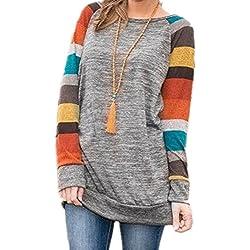HARHAY Women's Cotton Knitted Long Sleeve Lightweight Tunic Sweatshirt Tops Yellow M/US6-8
