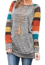 HARHAY Women\'s Cotton Knitted Long Sleeve Lightweight Tunic Sweatshirt Tops A7, Grey and Yellow Sleeve, US12-14/XXL