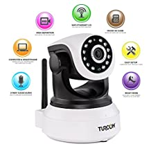 Turcom TS-620 720P, Cloud Network IP Camera, Wi-Fi, Video Monitoring, Surveillance, HD Security Camera, Wireless/Wired Pan/Tilt, IR-Cut Filter, Plug & Play, Two-Way Audio, with Alarm, Day and Night Vision, Motion Detection