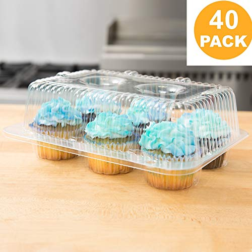 40 High Dome Cupcake Boxes | 6 Compartment Clear Plastic Cupcake Carrier - Durable Cupcake Holders | Disposable Cupcake Container Muffin Trays | Cup Cake Packaging Transporter]()