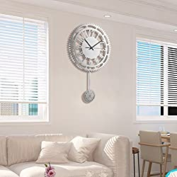 Wall Clocks 20 inch Silver Metal Gear Swing Home Living Room Mute Clock (Color : Silver)