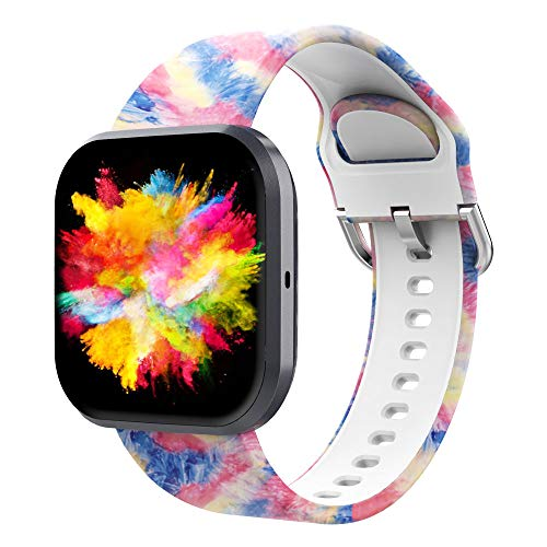 UooMoo Tie-dye Bands Compatible with Fitbit Versa/Fitbit Versa 2/Fitbit Versa Lite for Women Men,Soft Silicone Wristband…