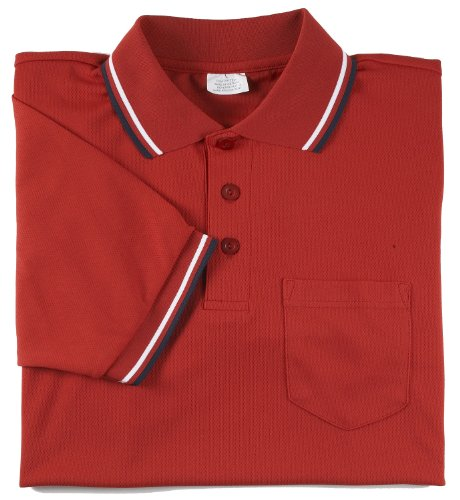 (Adams USA Smitty Major League Style Short Sleeve Umpire Shirt with Front Chest Pocket (Scarlet, Large))