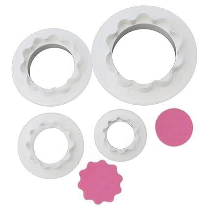 Gessppo Molde de pastel 4Pcs/set Circular Cake Fondant Cookie Decorating Plunger Mold Decorating Tool