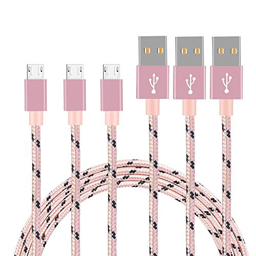 Micro USB Cable, DECVO 3Packs 10FT Nylon Braided High Speed 2.0 USB Durable Charging Cables Android Fast Charger Cord for Samsung Galaxy S7/S6, LG, Motorola, Android Smartphones and More (Pink+Black) by DECVO