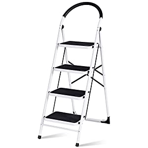 Giantex Stepladder 4 Step Folding Ladder Step Stool Platform Home Kitchen Tool Portable Multipurpose Ladder w/Metal Frame Rubber Hand Grip Anti-Slip Pedal 330Lbs Capacity