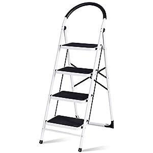 Giantex 4 Step Ladder Folding Step Stool Platform Home Kitchen Tool Multiuse Stepladder w/Sturdy Frame Rubber Hand Grip Anti-Slip Pedal Lightweight Portable Ladder 330Lbs Capacity