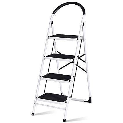 Amazing Giantex 4 Step Ladder Folding Step Stool Platform Home Kitchen Tool Multiuse Stepladder W Sturdy Frame Rubber Hand Grip Anti Slip Pedal Lightweight Pabps2019 Chair Design Images Pabps2019Com