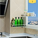 304 Stainless Steel Kitchen Shelf Multifunction Wall-Mounted Multilayer Spice Rack Save Space Corner Storage Shelves 3-Tier Three Layers 331230/51/65/80cm (Size : 2-Tier)