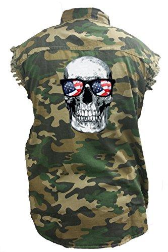 SHORE TRENDZ Men's Camo Sleeveless Denim Shirt Skull With American Sunglasses Denim Vest: - Cheap Imprinted Sunglasses