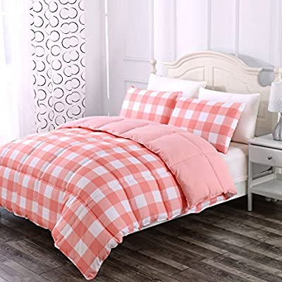 Luxe Bedding 3-PCS Reversible Down Alternative Quilted Duvet/Gingham Comforter Set - All Season Hotel Quality (Full/Queen, Coral) -  - comforter-sets, bedroom-sheets-comforters, bedroom - 51fWngxSNIL. SS400  -