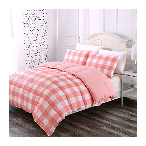 Luxe Bedding 3-PCS Reversible Down Alternative Quilted Duvet/Gingham Comforter Set - All Season Hotel Quality (Full/Queen, Coral) -  - comforter-sets, bedroom-sheets-comforters, bedroom - 51fWngxSNIL. SS570  -