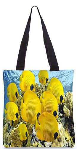 """Snoogg Gelber Fisch-Einkaufstasche 13,5 X 15 In """"Shopping-Dienstprogramm Tragetasche Aus Polyester Canvas"""