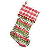 """Northlight 19"""" Red and Green Rustic Lodge Christmas Stocking with Red Pom-Poms and Plaid Cuff"""