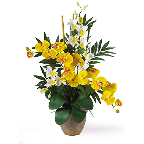 GREATHOPES Double Phal/Dendrobium Silk Flower Arrangement Yellow/Cream Home Decoration Flowers ()