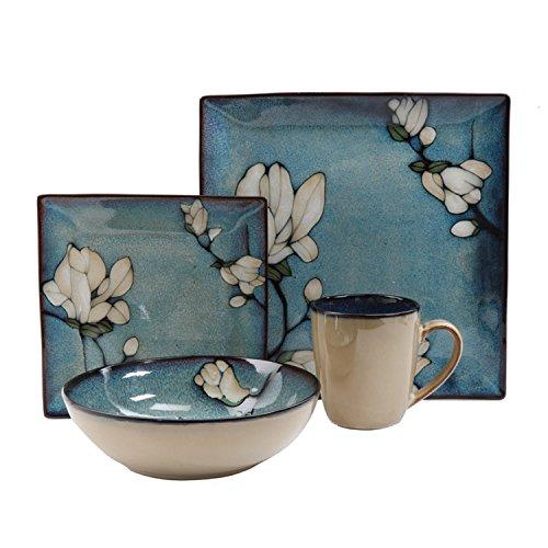 Bloomsbury Blue Flower Stoneware 16-Piece Dinnerware Set